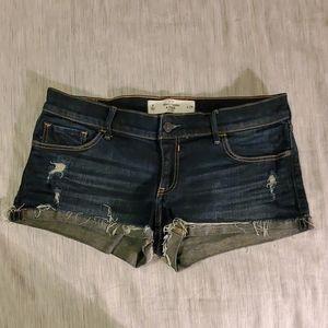 Abercrombie Rolled Cuff dark Denim cutoff shorts 8